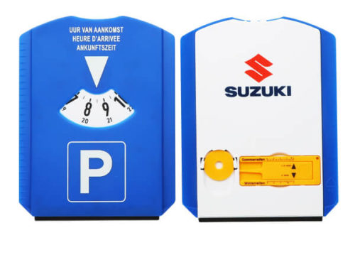 Parking disc with tire thread depth gauge