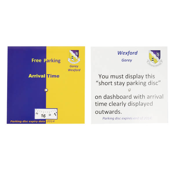 Promotional paper card parking disc
