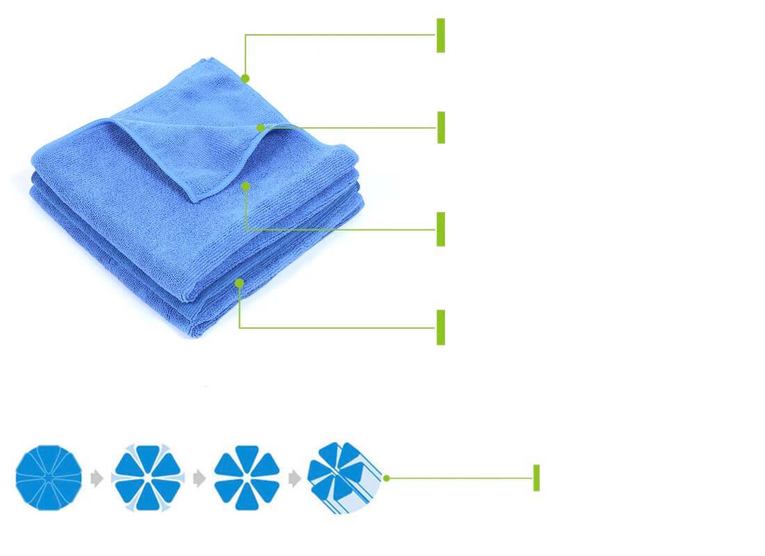 16x16 inch blue cheap microfiber towels