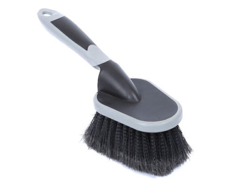 Soft bristle tire rim cleaning brush